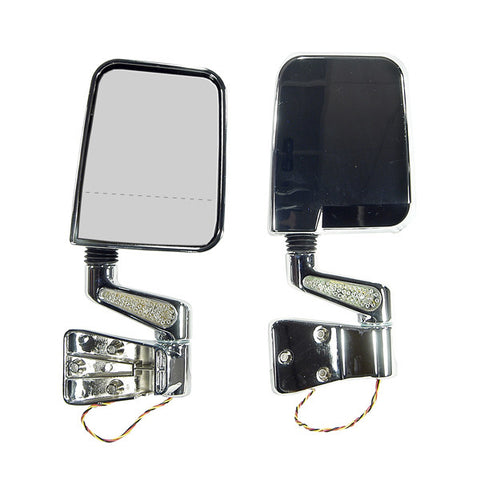 Door Mirror Kit, LED Signal, Dual Focus, Chrome; 87-02 Jeep Wrangler - EZ Wheeler