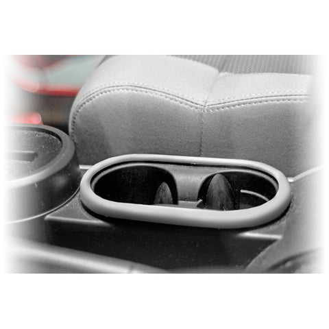 Front Cup Holder Trim, Brushed Silver; 07-10 Jeep Wrangler JK - EZ Wheeler