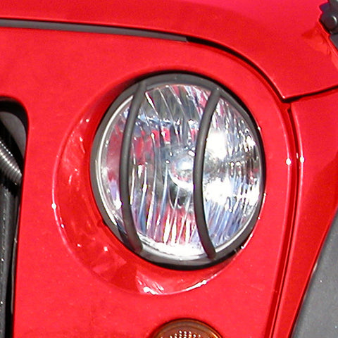 Headlight Euro Guards, Black; 07-17 Jeep Wrangler JK - EZ Wheeler