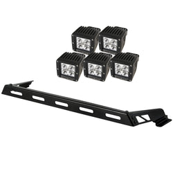 Rugged Ridge -  5 Cube LED Hood Light Bar Kit - 07-17 Jeep Wrangler JK (11232.05) - EZ Wheeler