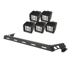 Rugged Ridge - 5 Square LED Hood Light Bar Kit - 07-17 Jeep Wrangler (11232.12) - EZ Wheeler