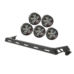 Rugged Ridge -  5 Round LED Hood Light Bar Kit - 07-17 Jeep Wrangler (11232.14) - EZ Wheeler