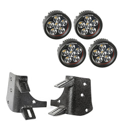 "Rugged Ridge - Dual A-Pillar 3.5"" Round LED Light Kit - 97-06 Jeep Wrangler TJ/LJ (11232.37) - EZ Wheeler"
