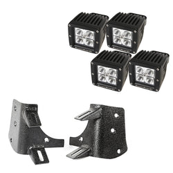 "Rugged Ridge - 3"" Square Lights Dual A-Pillar LED Kit - 97-06 Jeep Wrangler TJ/LJ (11232.38) - EZ Wheeler"