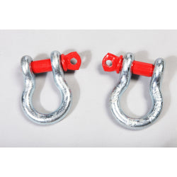 Rugged Ridge - D-Ring Shackles, 3/4-Inch, Silver with Red pin, Steel, Pair (11235.01)
