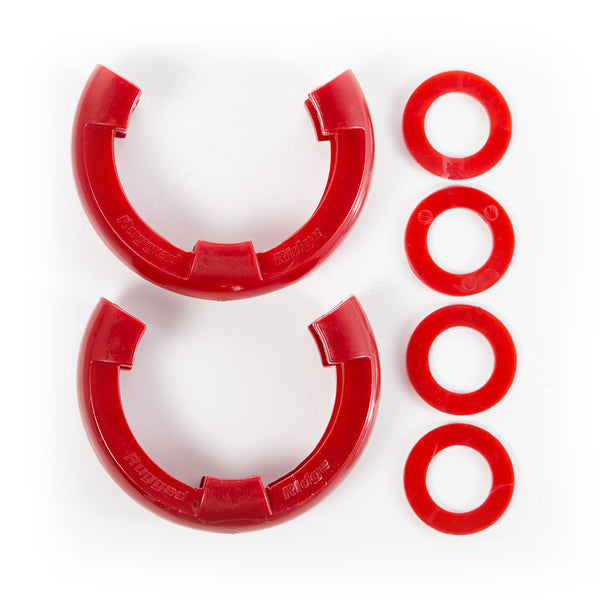 Rugged Ridge - D-Shackle Isolator Kit, Red Pair, 3/4-Inch (11235.31) - EZ Wheeler