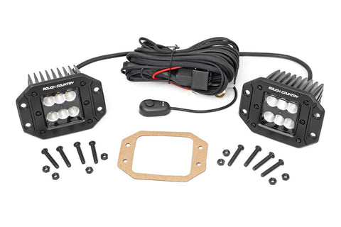 Cree Led Lights >> Rough Country 2 Inch Square Flush Mount Cree Led Lights Pair Black Series Flood Beam 70113bl