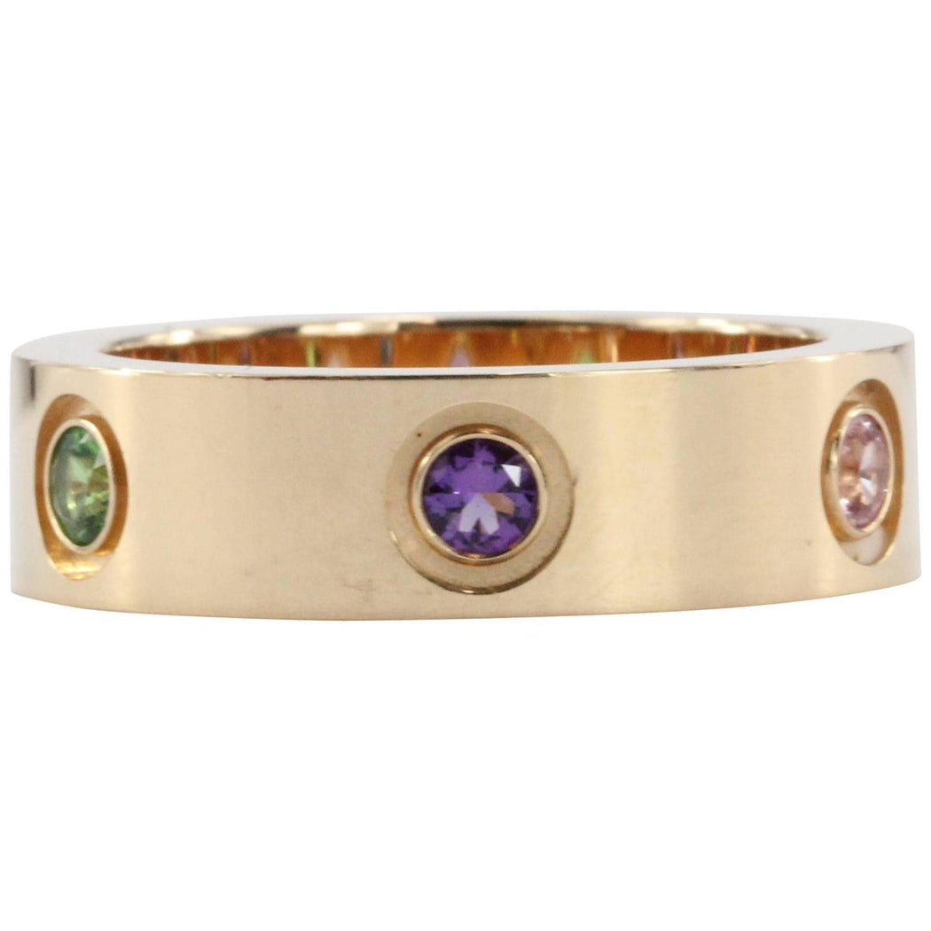 Cartier Love Multicolor Gem Gold Band Ring - Queen May