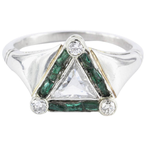 Antique Art Deco Platinum Triangle 1 Ct Diamond & Emerald Engagement Ring