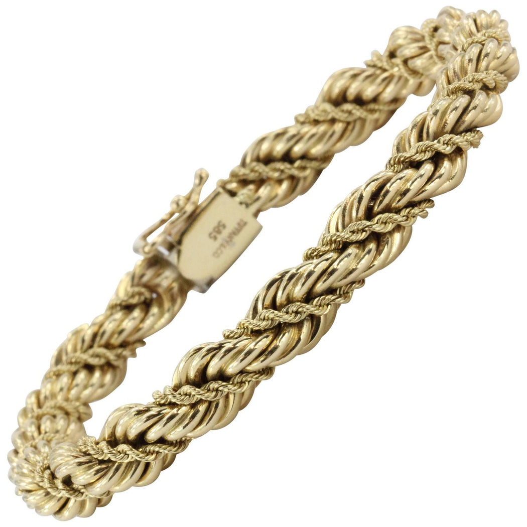 Vintage Tiffany & Co 14K Gold Thick Rope Bracelet 7.5""