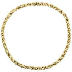 Vintage Tiffany & Co 14K Gold Thick Rope Necklace 16.5""