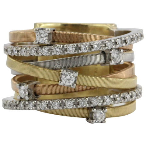 Marco Bicego Diamond Three Color Gold Seven Strand Ring