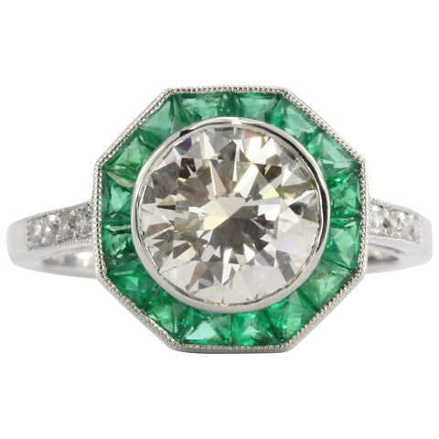 2.1 Carat Diamond Emerald Platinum Engagement Ring