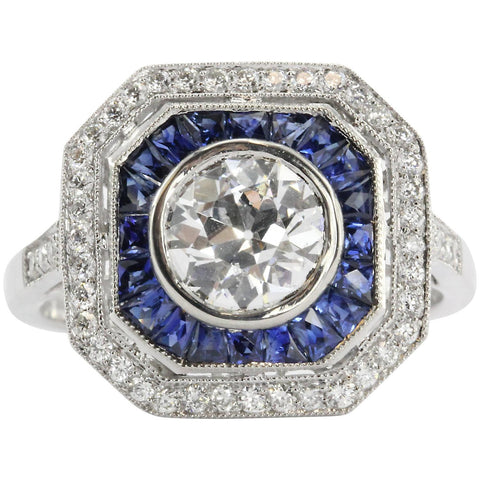 Art Deco Style Platinum Old European Diamond & Sapphire Ring