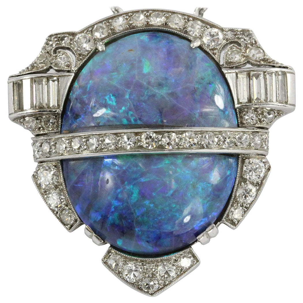 Art Deco Australian Black Opal Platinum & Diamond Pendant w/ 14K White Gold Chain - Queen May