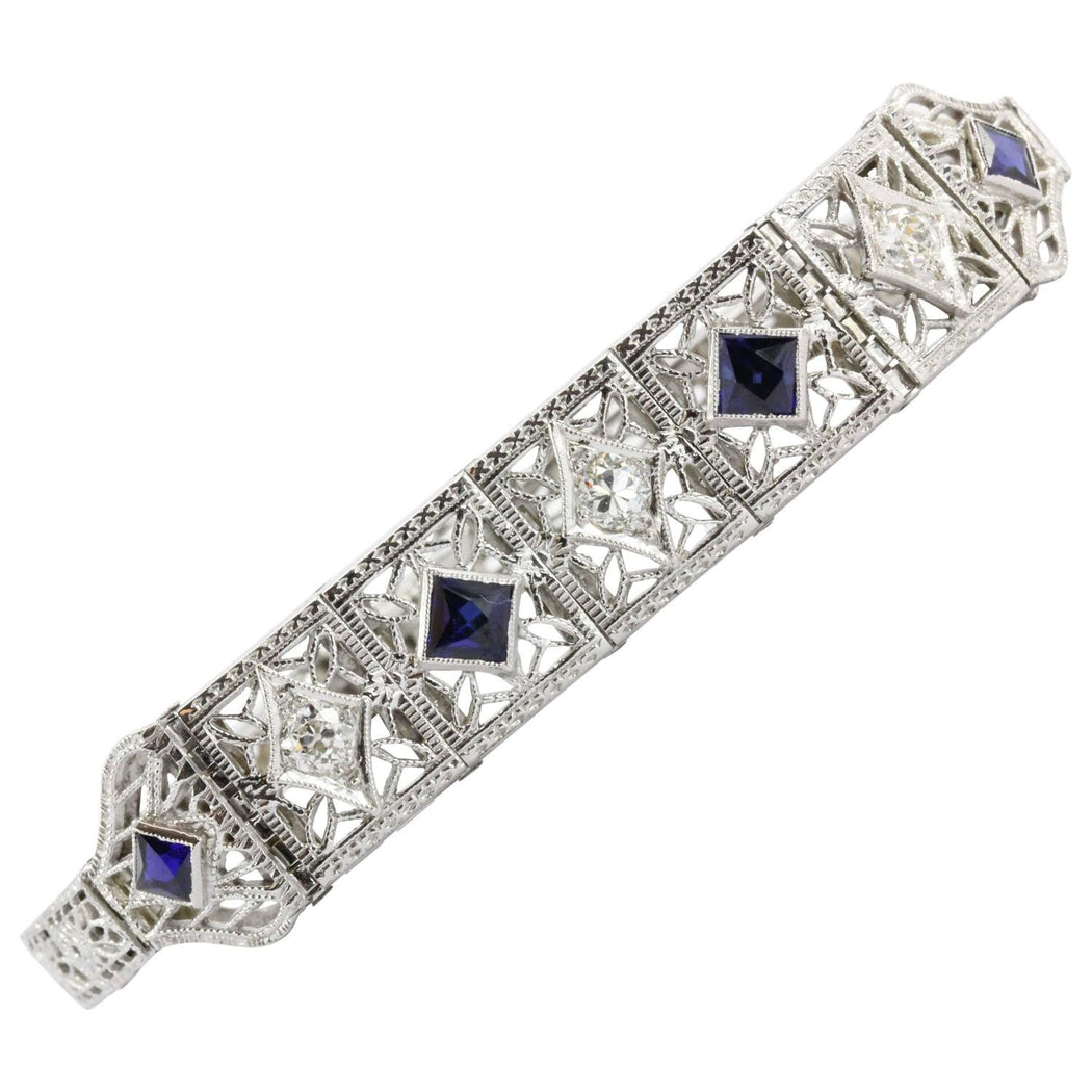 Antique Art Deco 14k White Gold Old Mine Diamond & Sapphire Bracelet