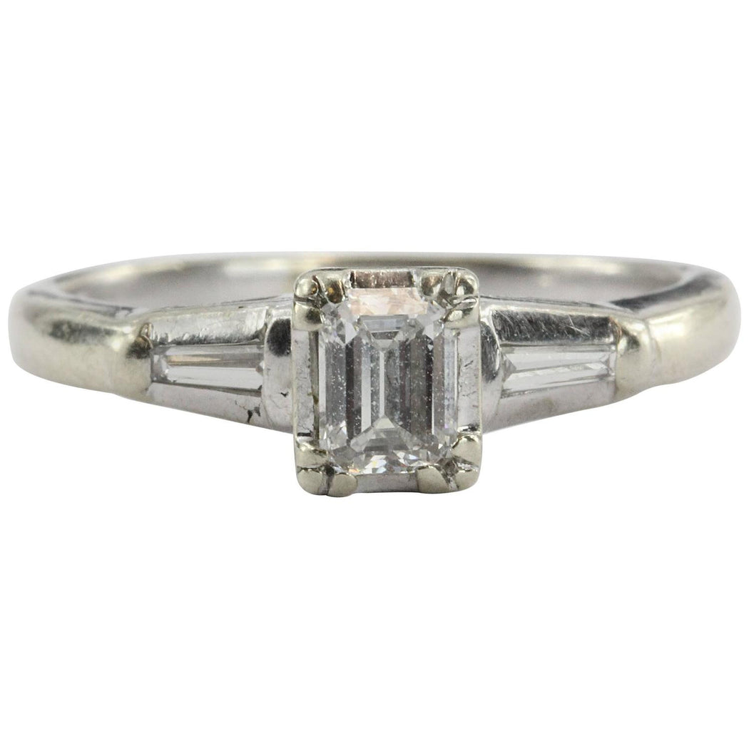 Antique Art Deco 14K White Gold Emerald Cut Diamond Engagement Ring - Queen May