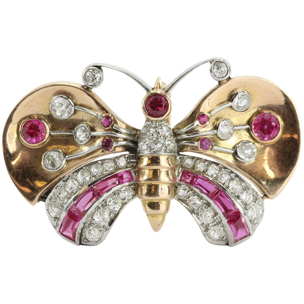 Antique Art Deco 18K Gold Diamond & Ruby Butterfly Moth Pendant Walser Wald - Queen May
