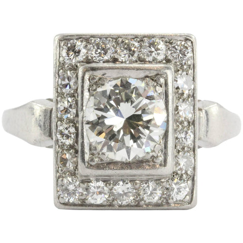 Antique Art Deco Platinum 1.9 Carat Transition Cut Diamond Engagement Ring