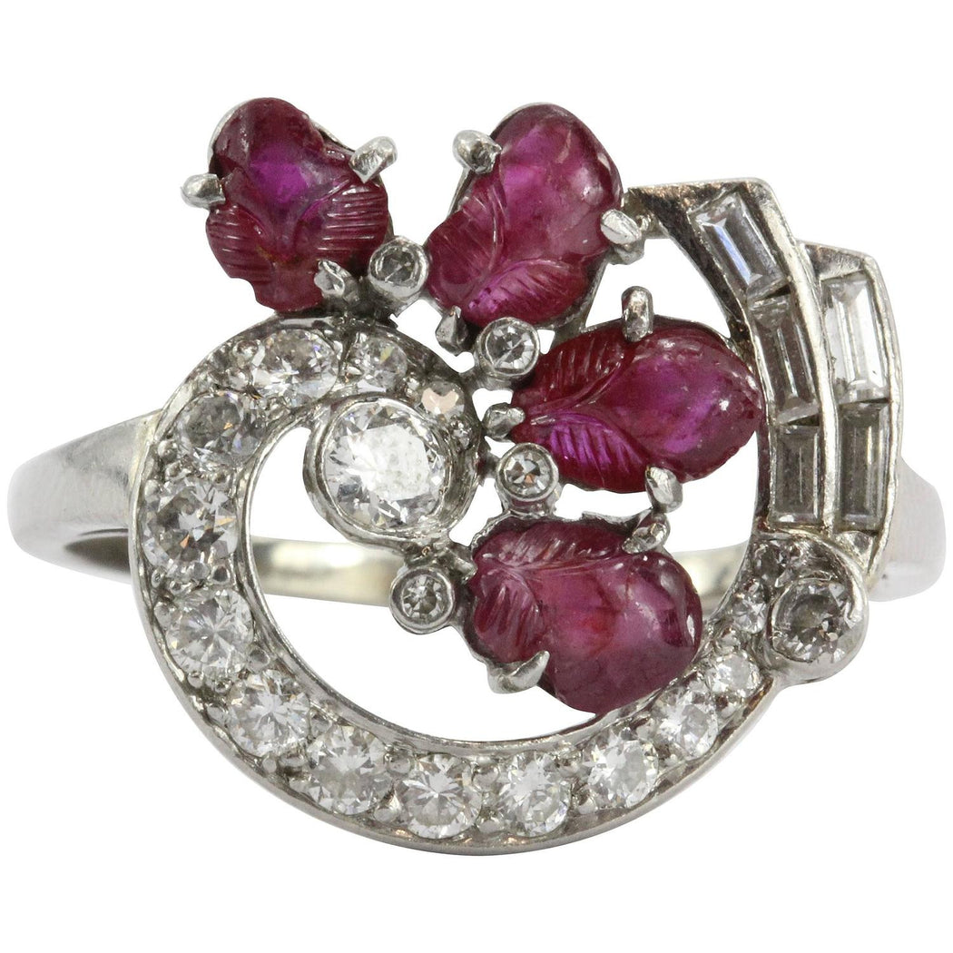 Antique Art-Deco Tutti Fruity Style Carved Ruby Platinum & Diamond Ring - Queen May