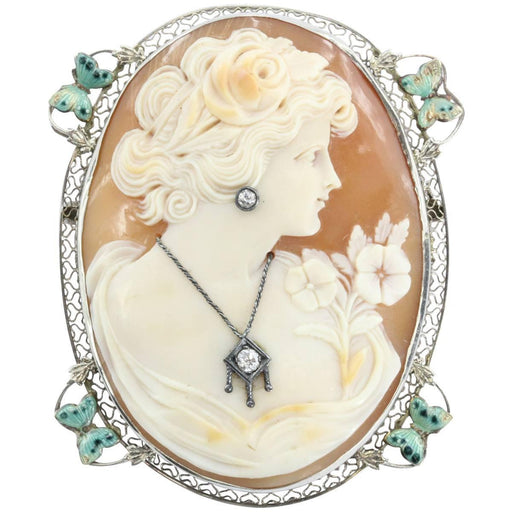Antique Art Nouveau 14K White Gold Habille Diamond Enamel Butterfly Cameo