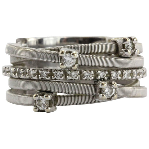 Marco Bicego GOA 18K White Gold 5 Row Diamond Ring