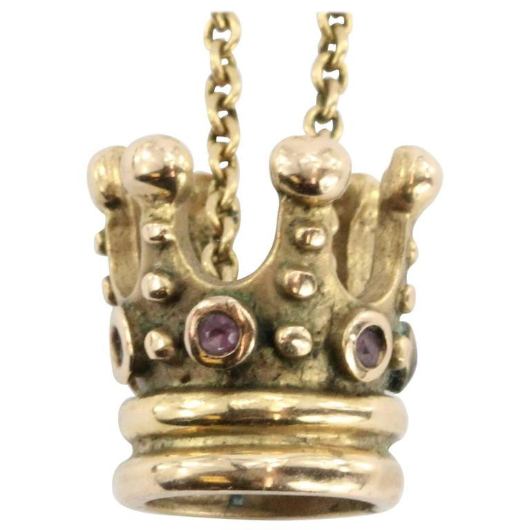 Vintage 18K Gold & Ruby Queen / Princess Crown Necklace Pendant - Queen May