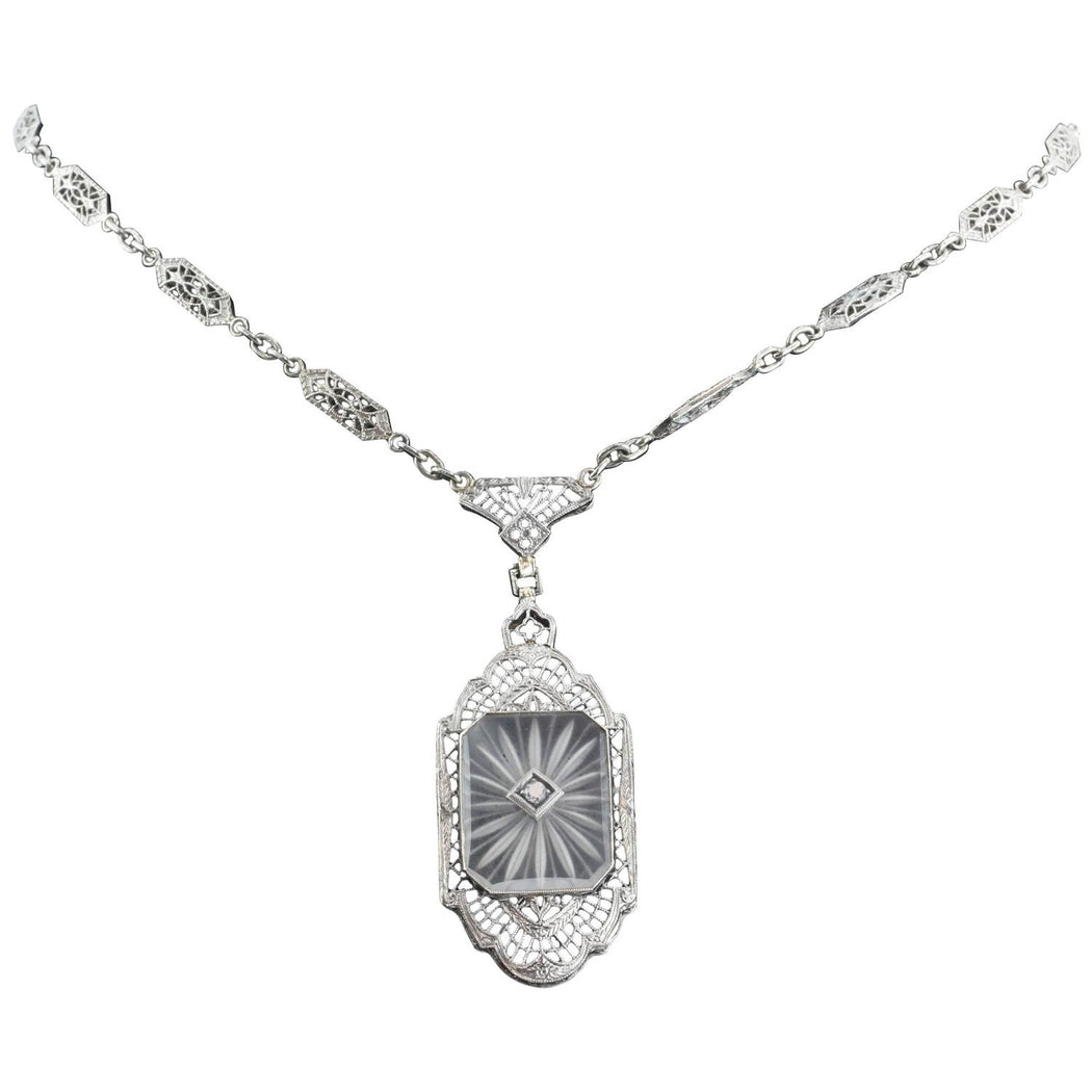 Antique L Fritschze & Co 14K White Gold Art Deco Camphor Diamond Necklace Signed - Queen May