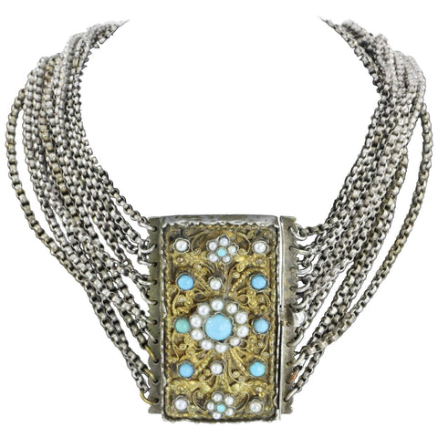 Antique 1840's Austrian Hungarian Silver Turquoise & Pearl Chunky Gilt Necklace