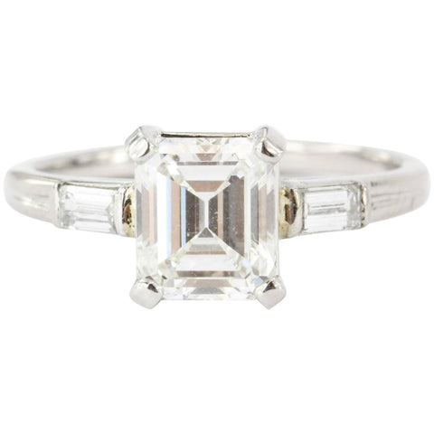Tiffany & Co. Emerald Cut Diamond Palladium Engagement Ring