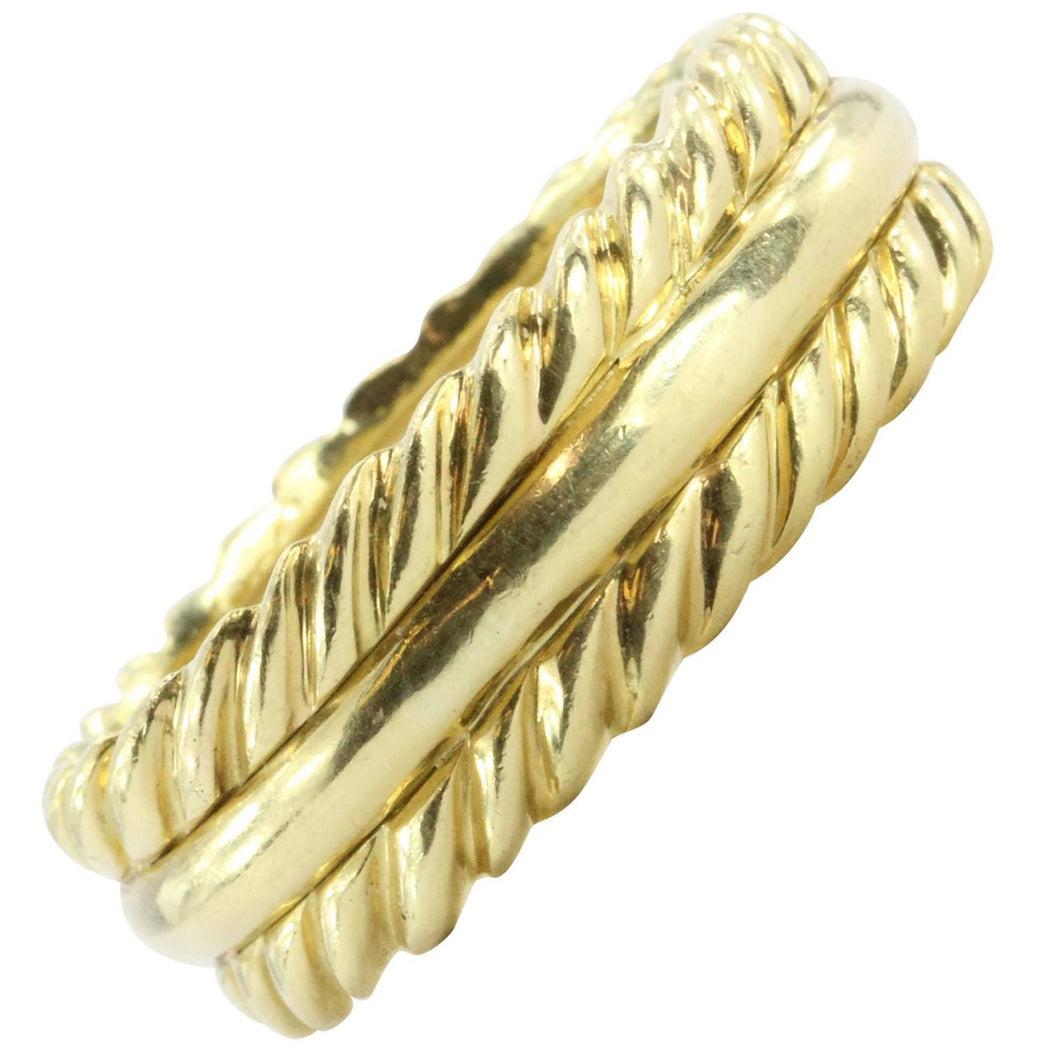 David Yurman 18K Gold Wide Set Cable Band Ring Size 11.5 - Queen May