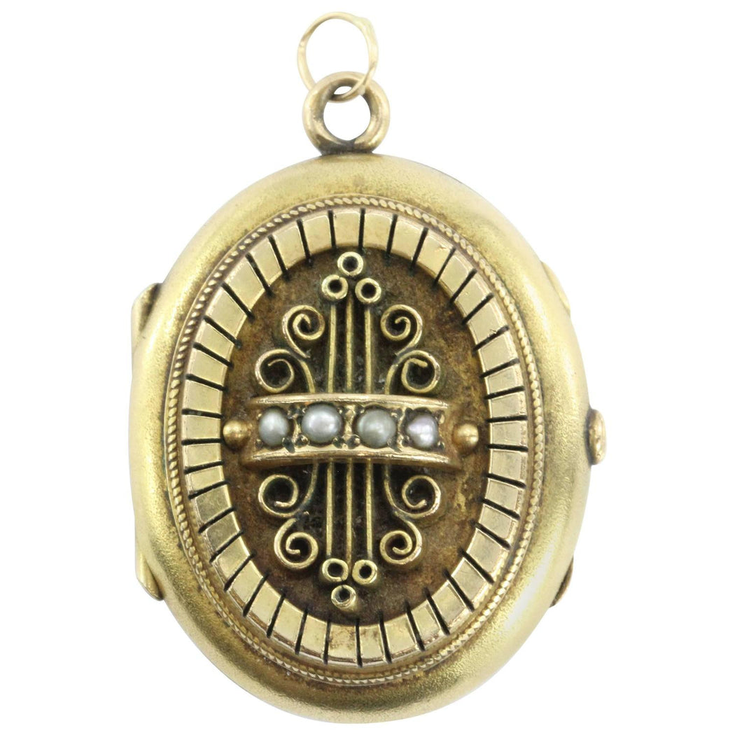Victorian Antique 18k Solid Yellow Gold Seed Pearl Locket - Queen May