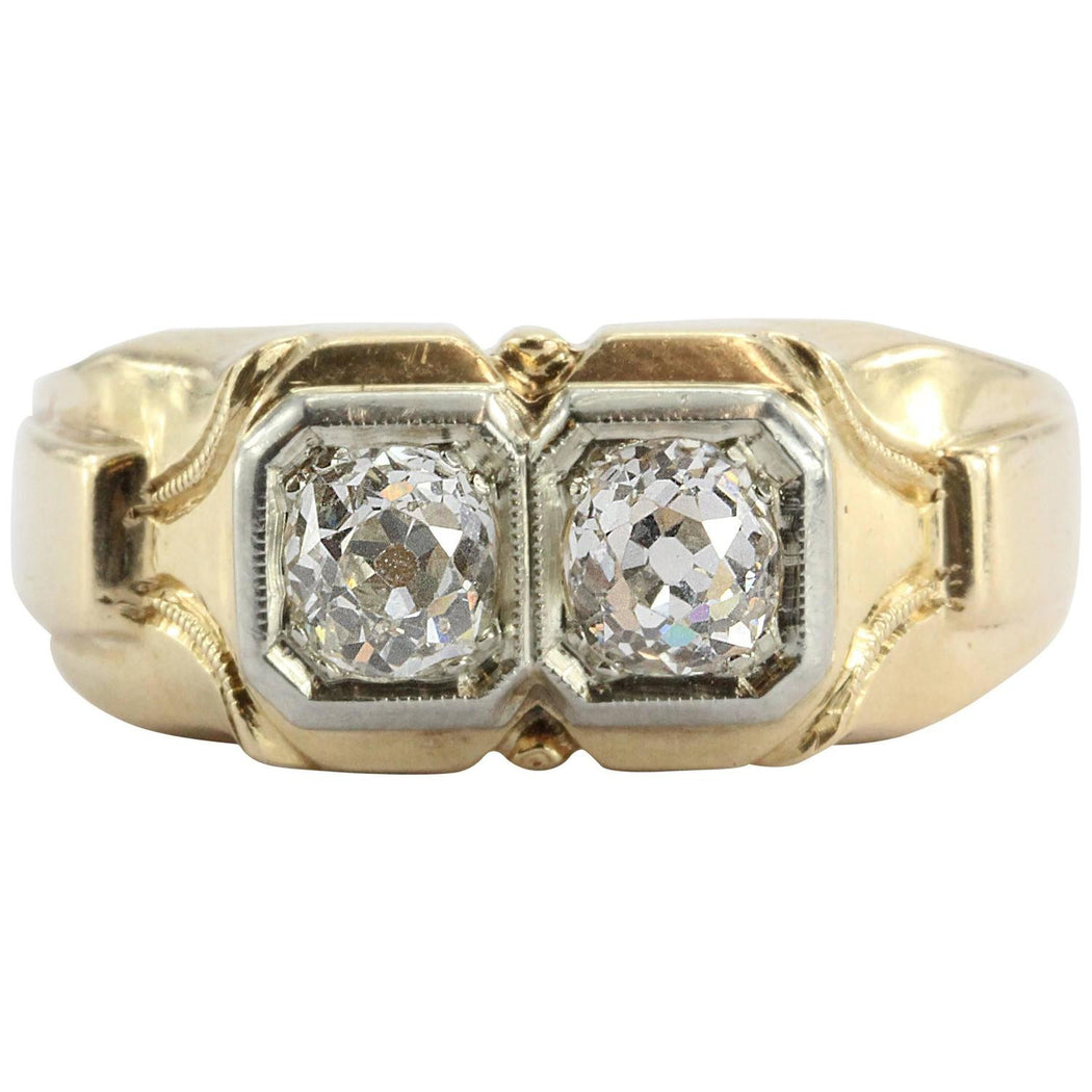 Art Deco Twin Old Mine Cut Diamonds 1.2 CTW 14K Gold Ring
