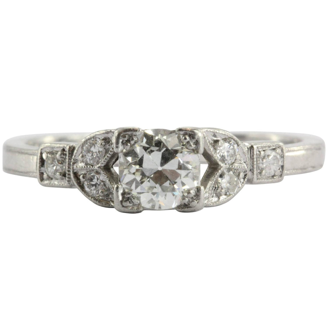 Art Deco Platinum Old European Cut Diamond Engagement Ring