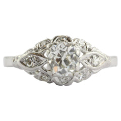 Art Deco Platinum 1 CTW Old Mine Cut Diamond Engagement Ring