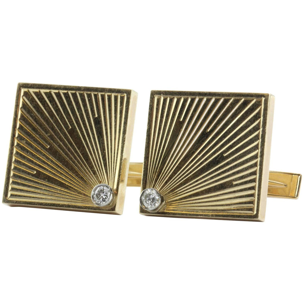 Vintage 14K Gold & Diamond Empire Art Deco Cufflinks - Queen May