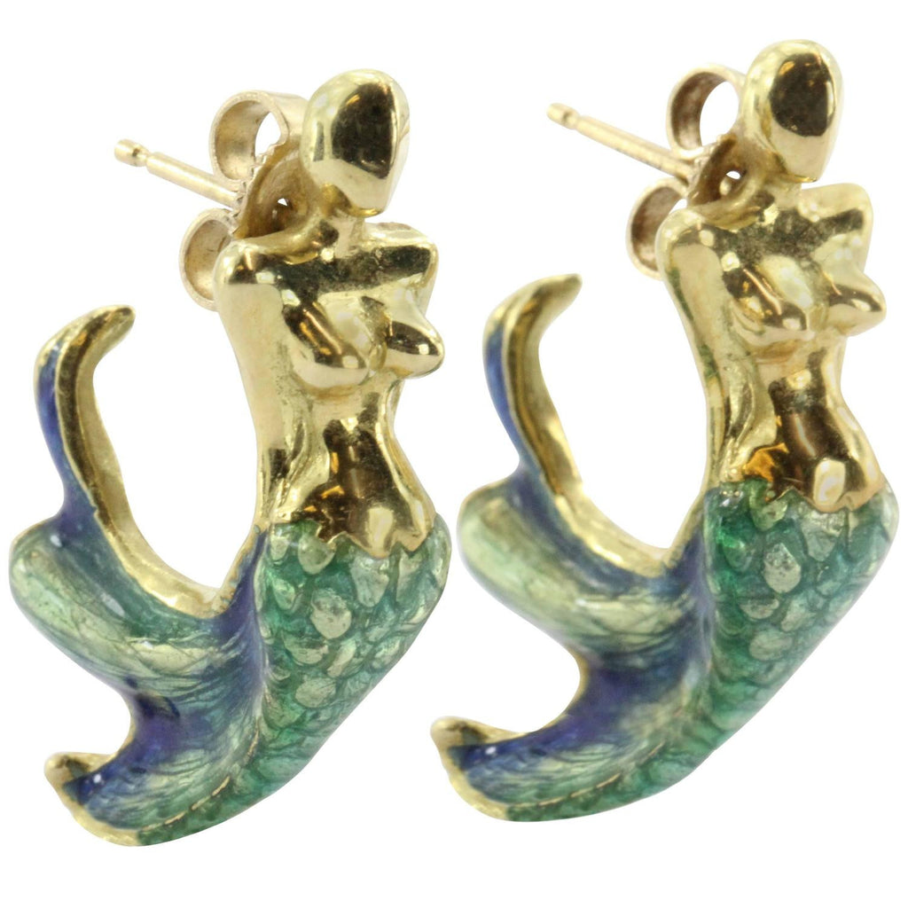 18K Gold  Blue & Green Enamel Figural Mermaid Earrings