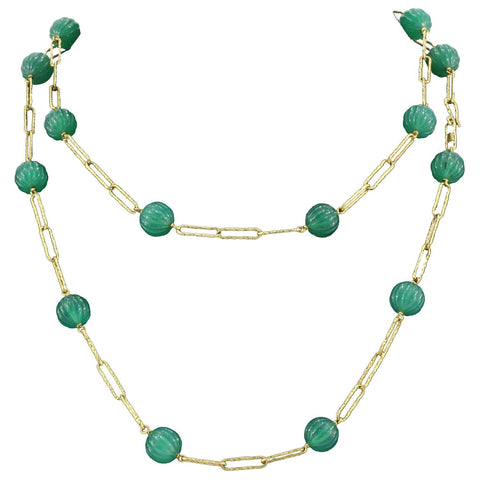 "Vintage 18K Gold Spanish Green Chalcedony Bead 41.5"" Long Necklace"