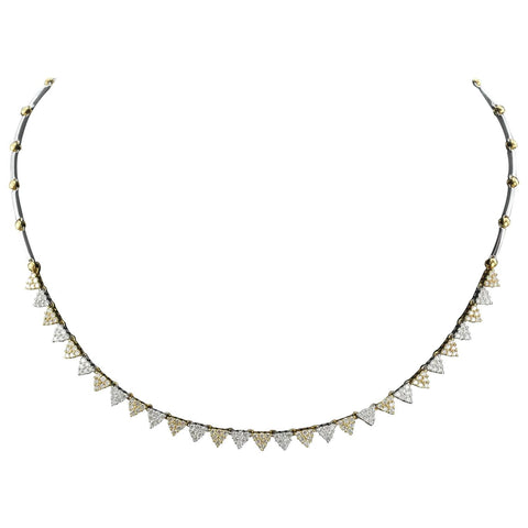 18K White & Yellow Gold Diamond Modernist Necklace