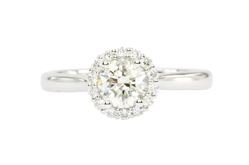 14K White Gold .61 Carat Diamond Halo Engagement Ring