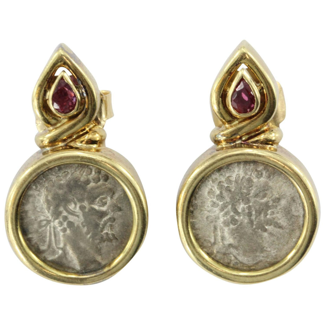 18K Gold & Ruby Roman Silver Denarius Coin Earrings