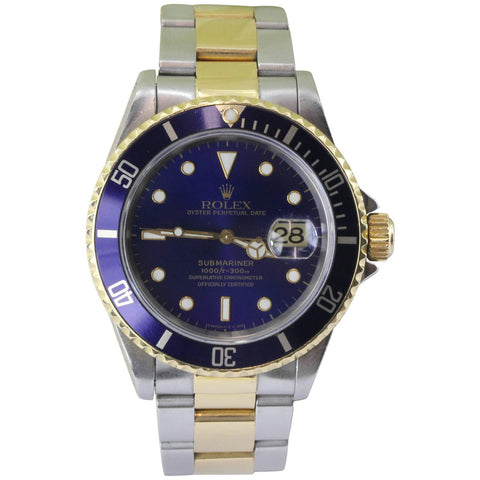 Rolex Submariner Model 16613 Oyster Stainless & 18K Gold Watch