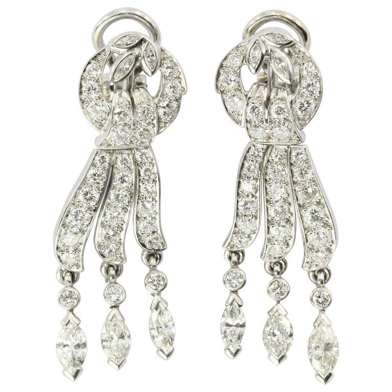 JE Caldwell Antique Platinum and Diamond French Post Earrings - Queen May