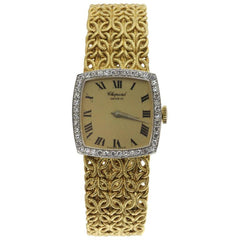 Chopard 18k Gold & Diamond Watch with Byzantine Wheat Chain Bracelet