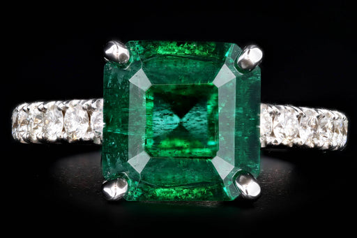 Modern 14K White Gold 2.83 Carat Natural Emerald & Diamond Ring AGL Certified - Queen May