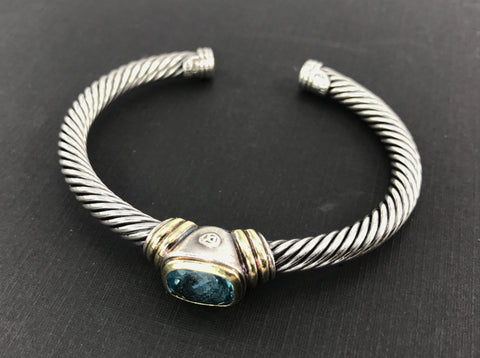 David Yurman Sterling Silver 14K Gold Blue Topaz Cable Cuff Bracelet