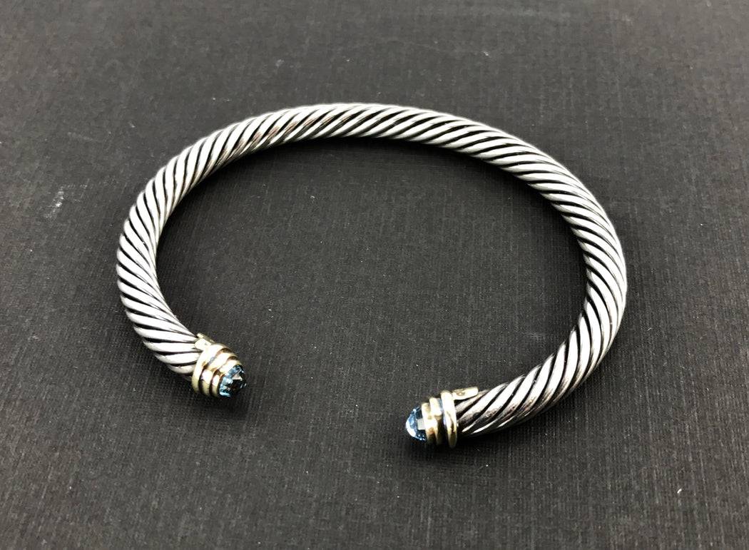 David Yurman Sterling Silver 14K Gold Blue Topaz Classic Cable Cuff Bracelet - Queen May