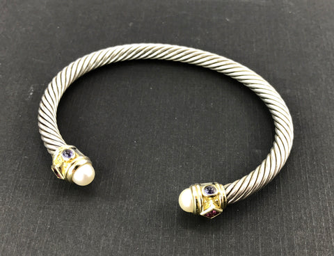 David Yurman Renaissance Sterling Silver & 14K Gold Bangle Bracelet