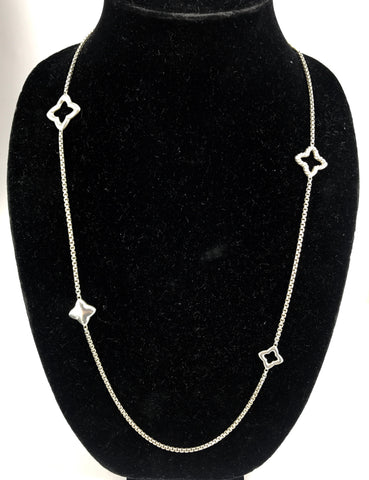 David Yurman Sterling Silver Quatrefoil Toggle Necklace 36""