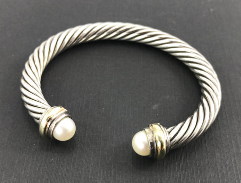 David Yurman Sterling Silver 14K Gold Pearl Classic 7mm Cable Cuff Bracelet